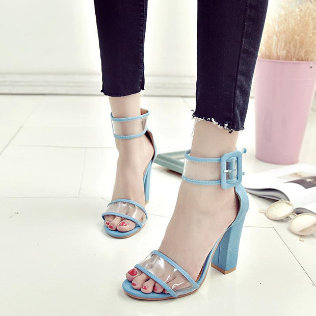 Pure Color Hollow High Heel Sandals