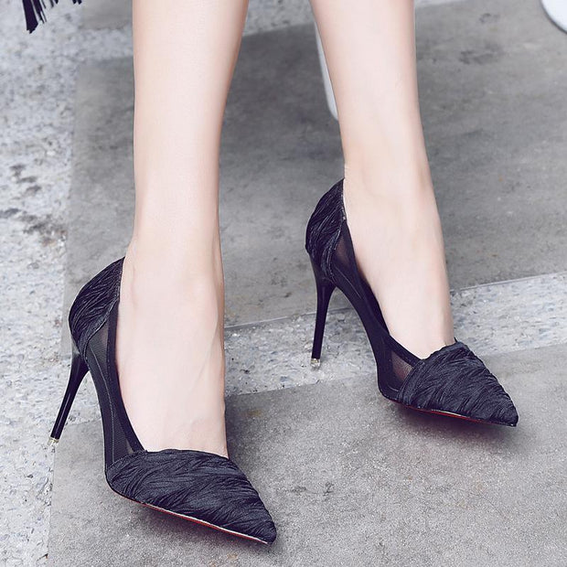3 1/2 Inch Height Silk Cloth Breathable Pointed Toe Heels For Women - Chicshoeshop