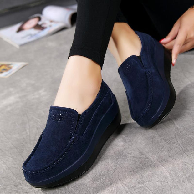 Breathable Platform Shoes Casual Slip On Soft Loafers For Women - Chicshoeshop