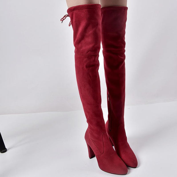 Women Elastic Zipper Pointed Toe Chunky Suede Over The Knee Boots