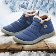 Antiskid Boots Fur Lined Low Heel Ankle High Snow Boots For Women - Chicshoeshop