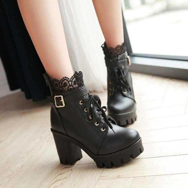 Ankle Strap Laces Chunky Heel England Style Lace Up Boots