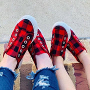 Women Plaid Casual Slip On Shoes Comfy Sneakers - Chicshoeshop