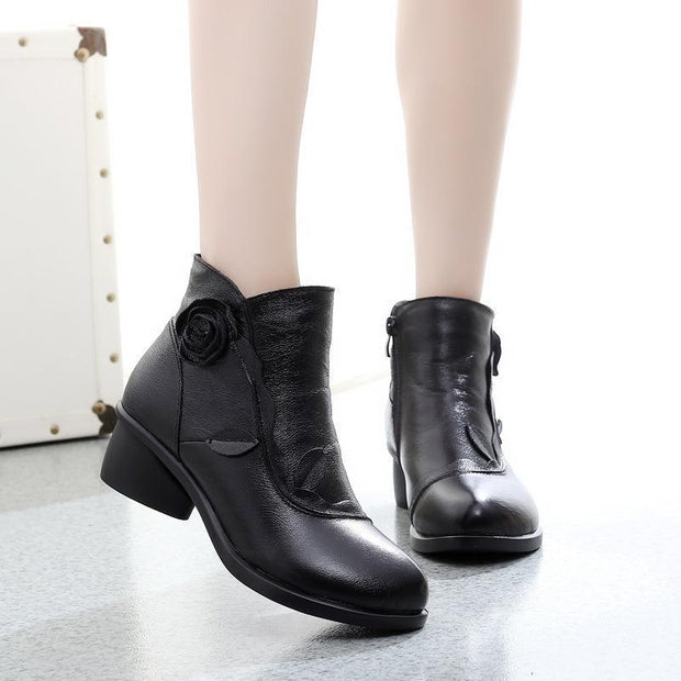 Vintage Fur Lining Low Heel Ankle High Leather Boots For Women - Chicshoeshop