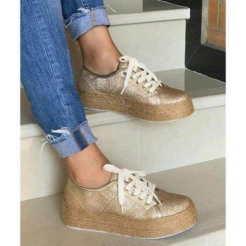 Fashion Women Shoes Girl Lace up Platform Canvas Sneakers