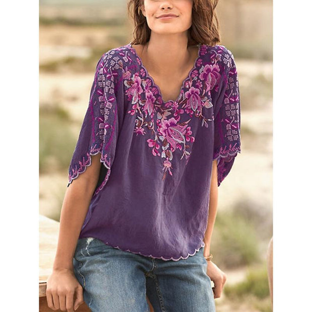 Plus Size Floral Casual Short Sleeve Women Summer Blouses - Chicshoeshop