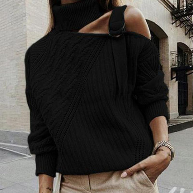 Long Sleeve One Shoulder Casual Turtleneck Sweater