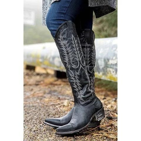 Vintage Zipper Printed Mid-Calf Women Boots