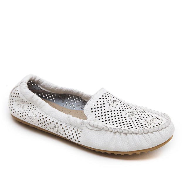 Pure Color Howllow Out Breathable White Flat Shoes For Women - Chicshoeshop