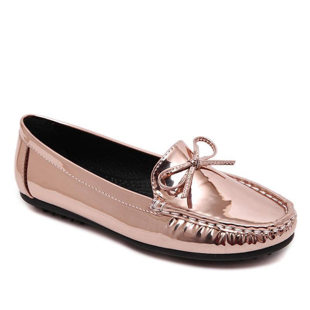 Women Metallic Loafers Champagne Pure Color Casual Driving Flats Spring Autumn - Chicshoeshop