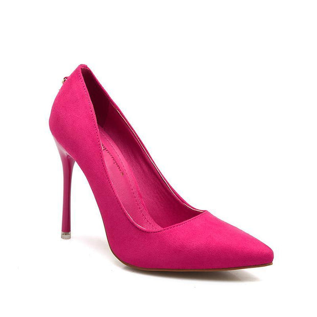 2 3/4 Inch Height Sweet Metal Pedant Shallow Pink Heels For Women - Chicshoeshop