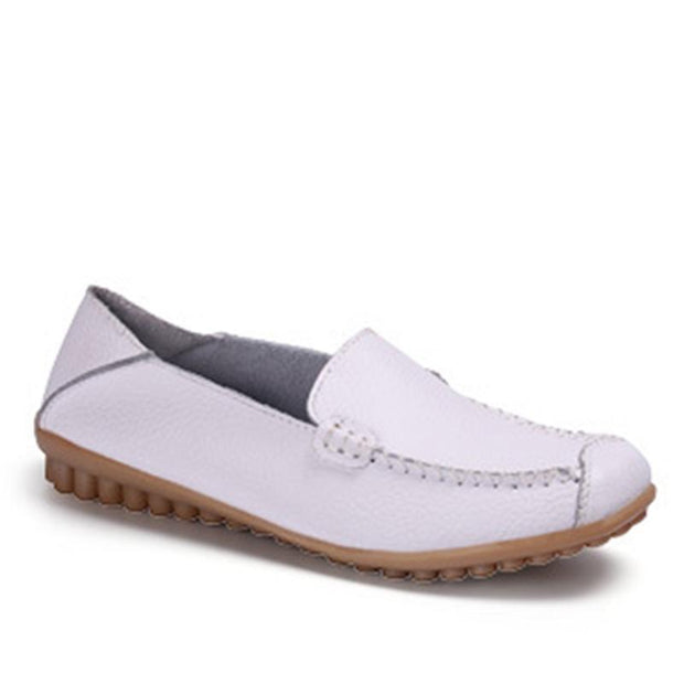 Genuine Leather Breathable Round Toe White Flat Shoes For Women - Chicshoeshop