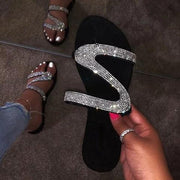 Sparkling Beads Glitter Flat Slide Sandals Women Shiny Slipper