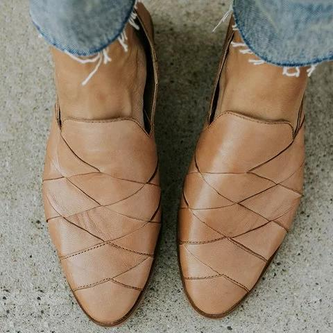 Apricot Slip On Pointed Toe Flat Loafers