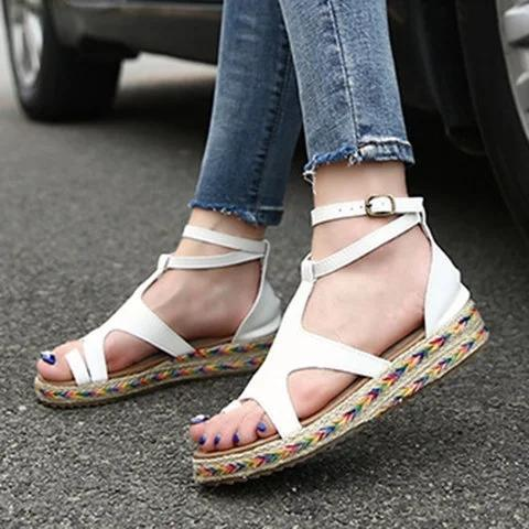 Women Micro Fiber Adjustable Buckle Espadrille Sandals - Chicshoeshop