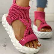 Women Knitted Hollow Criss Cross Muffin Platform Sandals