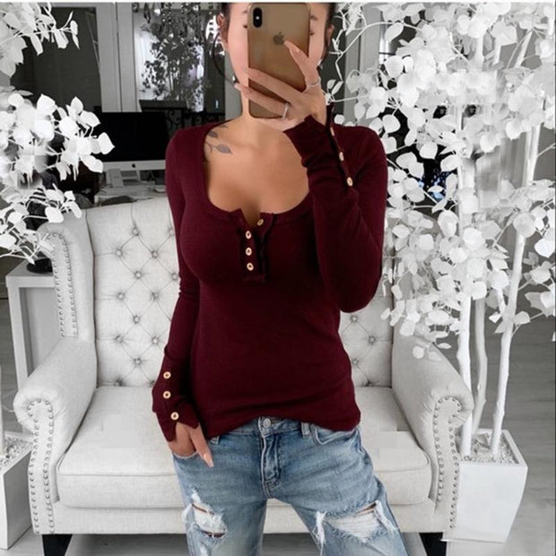Women Buttoned Down Long Sleeve Shirts Boat Neck Tops