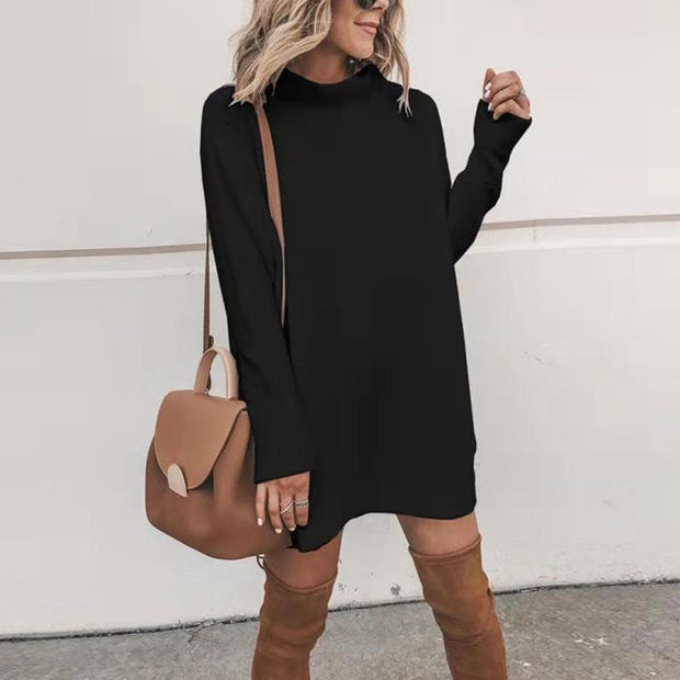 Pure Color Turtle Neck Women Sweater Dress