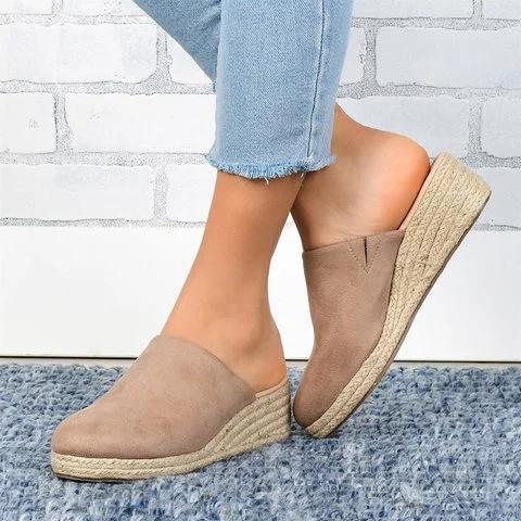 Mule Sandals Espadrilles Wedges Closed Toe Women Slide Sandals