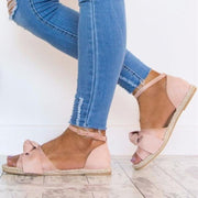 Bow-knot Hemp Rope Flat Sandals - Chicshoeshop