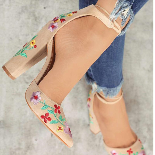 Flowers Suede Pointed Toe Sandals - Chicshoeshop