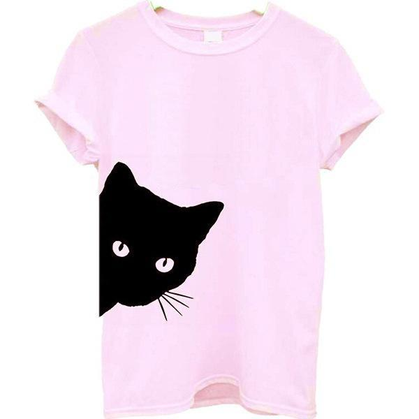 Printed Cat Round Neck Short Sleeve Casual Women Tops