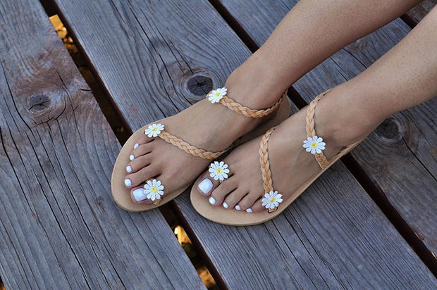 Women Flowers Flip Flop Slip On Strappy Sandals