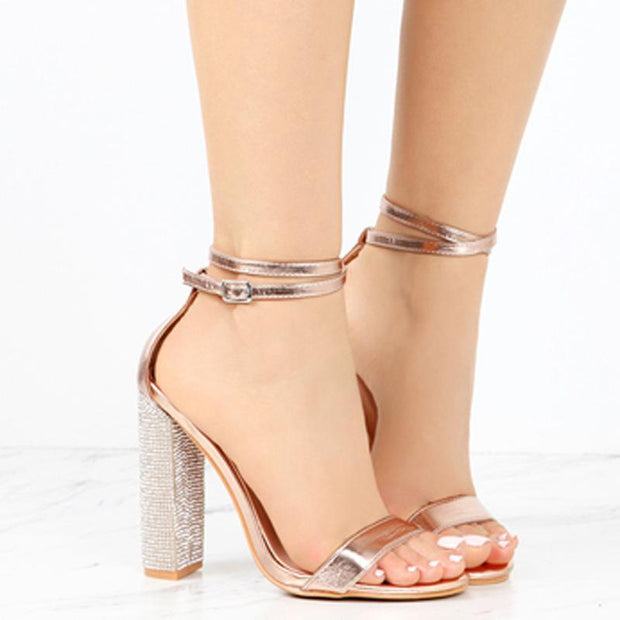 Bling Rhinestone High Heel Sandals - Chicshoeshop