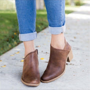 Side Zip Chunky Booties Low Heel Closed Toe Faux Stacked Ankle Boots - Chicshoeshop