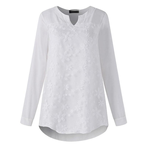 Lace Embroidery Long Sleeves Tops - Chicshoeshop