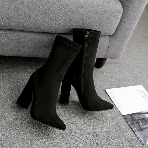 Fashion Women 10cm High Heels Ankle Boots Thick Heels