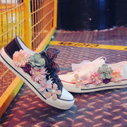 Women Flowers Casual Lace Up Flat Heel Sneakers - Chicshoeshop