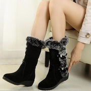 Women Fashion Winter Keep Warm Lining Fur Mid Calf Snow Boots