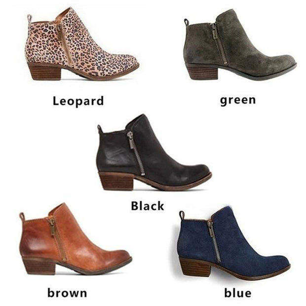 Autumn winter shoes ankle boots square chunky low heels booties - Chicshoeshop