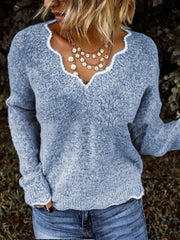 Women Gray Solid Color Holiday Floral V Neck Sweater