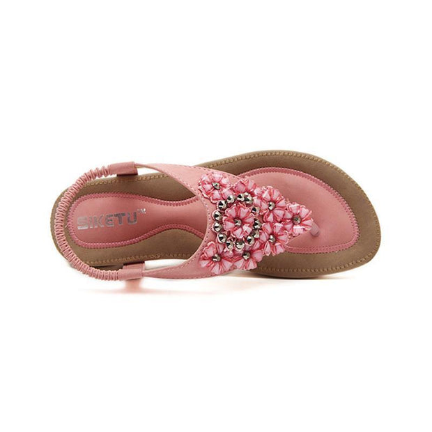 Bohemia Floral Rhinestone Pink Women Sandals for Summer - Chicshoeshop