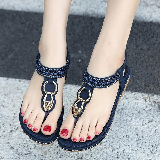 Bohemia Rhinestone Women Sandals Non-slip Clip Toe Elastic Sandals - Chicshoeshop