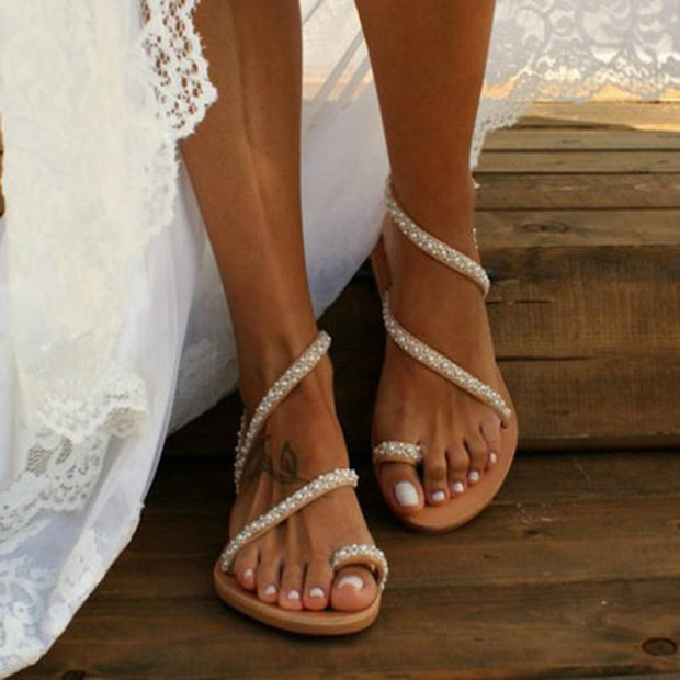 Boho Handmade Pearl Beach Sandals Bridal For Women - Chicshoeshop