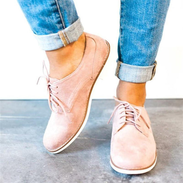 Comfort Low Heel Oxford Lace-up Daily Loafers - Chicshoeshop