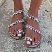 Handmade Sandals Pearls Summer Flat Sandals For Women Summer - Chicshoeshop