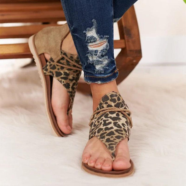 New Fashion Leopard Soft Comfy Thongs Gladiator Flat Sandals - Chicshoeshop