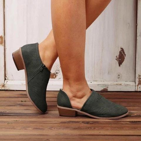 Hollow Out Low Heel Cutout Booties Zipper Suede Ankle Boots