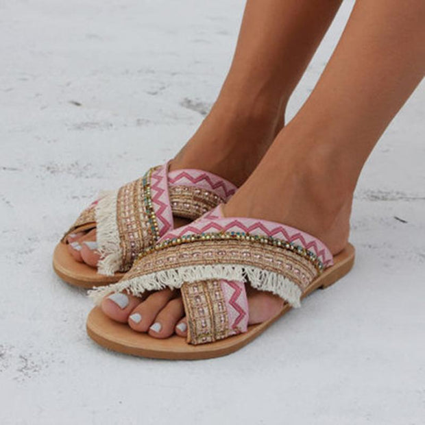 Women Boho Criss Cross Strap Peep Toe Flat Sandals