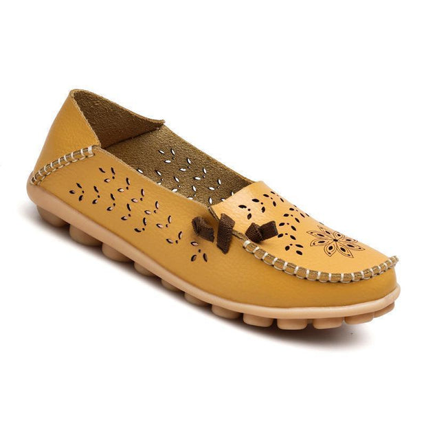 Soft Yellow flats Hollow Out Pattern Summer Flat Shoes for Women - Chicshoeshop