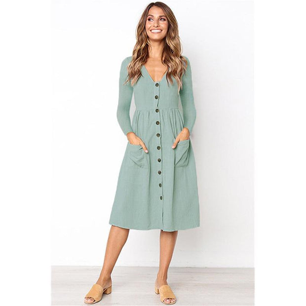 V-neck Pocket Long Sleeve Fall Dress