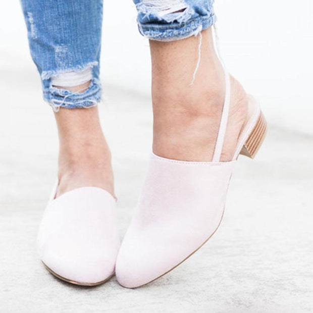 Blush Slingback Mule Sandals Closed Toe Low-heel Slip-On Sandals - Chicshoeshop