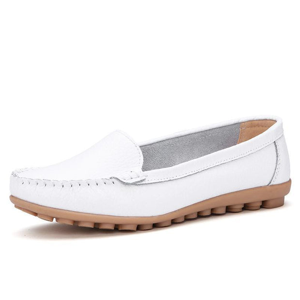 Casual White Slip-on Loafers for  Women Comfortable Round Toe Flats - Chicshoeshop