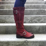 Winter Casual Plus Size Wide Calf Strap Buckle Womens Boots