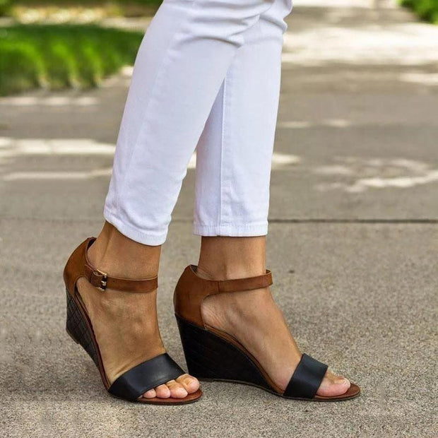 Daily Casual Adjustable Buckle Strap Wedge Sandals - Chicshoeshop
