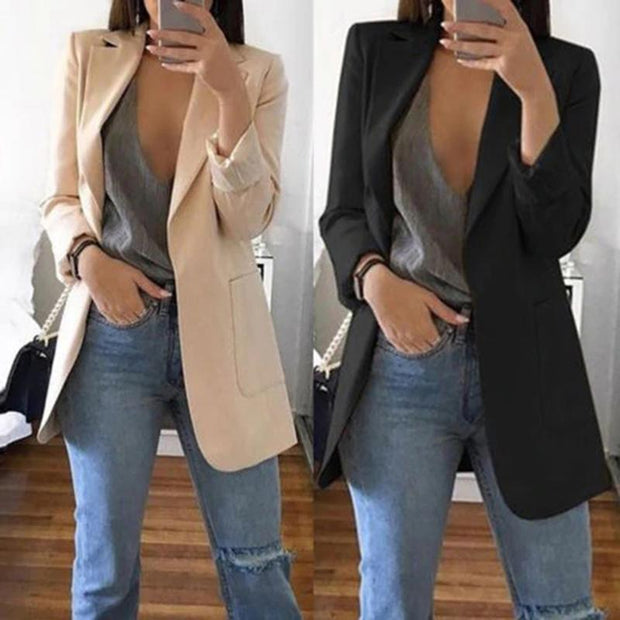 Women New Casual Slim Long Sleeves Turn-Down Collar Cardigan